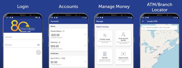 TCU mobile app screens