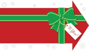 "An arrow pointing to the right, with a gift bow on it and tag that says ""To You"""
